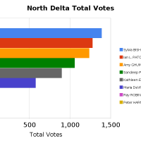 Bar Graph of Total Votes in North Delta